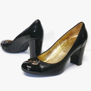 Coach Phebbie Black Leather Block Heels